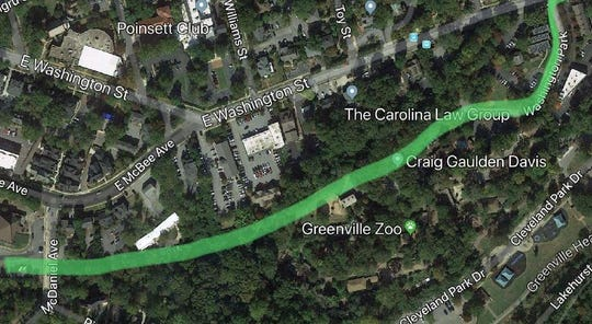 A rough sketch of how the Swamp Rabbit Extension would continue past the Greenville Zoo.