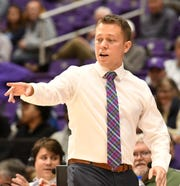 Furman head basketball coach Bob Richey leads his team against Bob Jones Tuesday, November 6, 2018, at Timmons Arena.