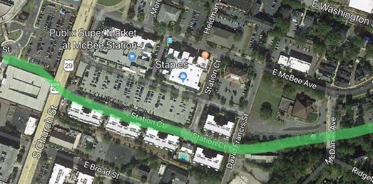 A rough sketch of how the Swamp Rabbit Extension would continue through McBee Station.