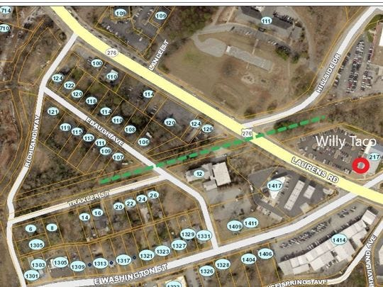 A map of the proposed route of the flyover bridge for the Swamp Rabbit Trail over Laurens Road.