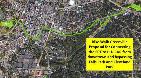 A map of the proposed route for the Laurens Road Swamp Rabbit Trail extension to connect with downtown Greenville.