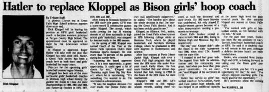 Dick Kloppel stepped down as Great Falls High girls' basketball coach following the 1987 season.