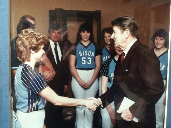 It was a remarkable moment for the Great Falls High girls' basketball team in October of 1982 when President Ronald Reagan visited the Electric City and took time to meet and greet the squad.