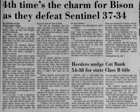 The first of Great Falls High's three straight undefeated seasons came in 1980, when the Bison knocked off Missoula Sentinel for the title.