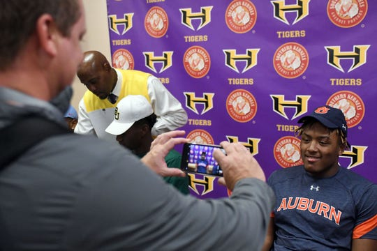 Hattiesburg's Jaren Handy signs with Auburn during early signing day on Wednesday, December 19, 2018.