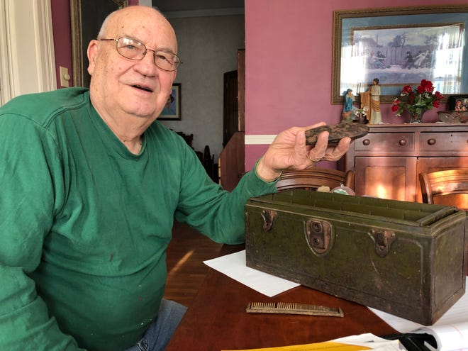 Storyteller Bob Park pulls a leather case containing an ancient pair of his grandmother's eyeglasses from a century-old-box handed down from his father. Park lately has been pulling stories of inspiration from his 85 years of observing life and humanity.