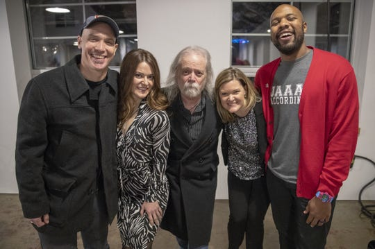 Storytellers, from left, Brian Allen Carr, Samantha Simpson, Frank Dean, Ginger Rough and Marc Williams at the Dec. 4 IndyStar Storytellers event at Tube Factory Artspace.