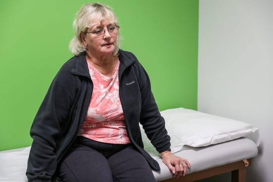 Paula Watkins, who recently underwent a hip replacement, visits the Midwest Center for Joint Replacement in Indianapolis for her two-week check up, Wednesday, Dec. 19, 2018. Watkins and other joint replacement patients across 18 have been invited to incorporate an Apple Watch into their rehabilitation regimen for a clinical trial. The watch, paired with mobile app mymobility, guides patients' rehab efforts while tracking their progress through heart rate, daily step counts, recorded exercises and more.