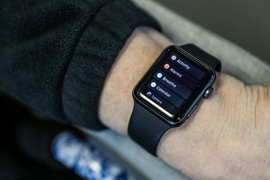 Apple Watches are being paired with a mobile app for a nationwide clinical trial, as seen at the Midwest Center for Joint Replacement in Indianapolis, Wednesday, Dec. 19, 2018. Joint replacement patients across 18 sites will be invited to incorporate an Apple Watch into their rehabilitation regimen for a clinical trial. The watch, paired with mobile app mymobility, guides patients' rehab efforts while tracking their progress through heart rate, daily step counts, recorded exercises and more.