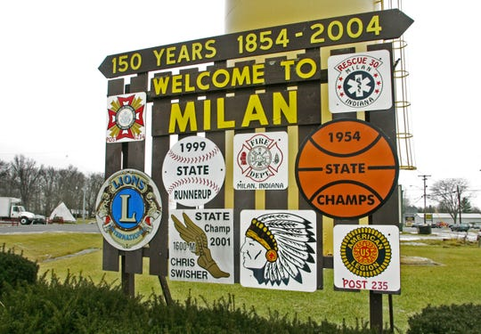 This welcome sign on State Road 101 greets visitors driving into tiny Milan in southeastern Indiana.  2004 file photo