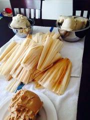 The masa and corn husks are ready to make tamales at Lindy McClain's tamalada.