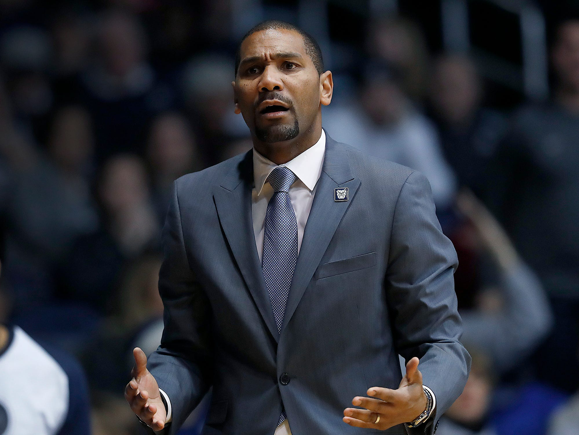 Butler Bulldogs head coach LaVall Jordan in the second half of their game at Hinkle Fieldhouse on Monday, Dec. 18, 2018.