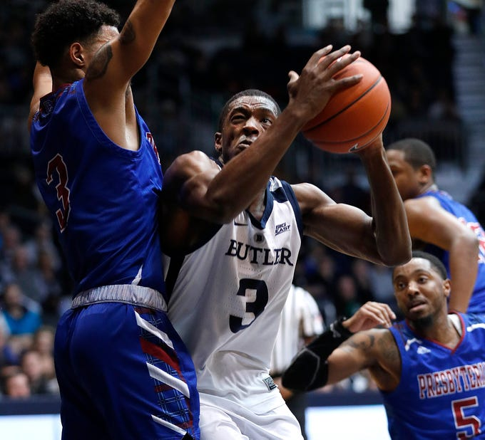 Butler Bulldogs guard Kamar Baldwin (3) drives on Presbyterian Blue Hose guard Romeo Crouch (3) in the second half of their game at Hinkle Fieldhouse on Monday, Dec. 18, 2018.