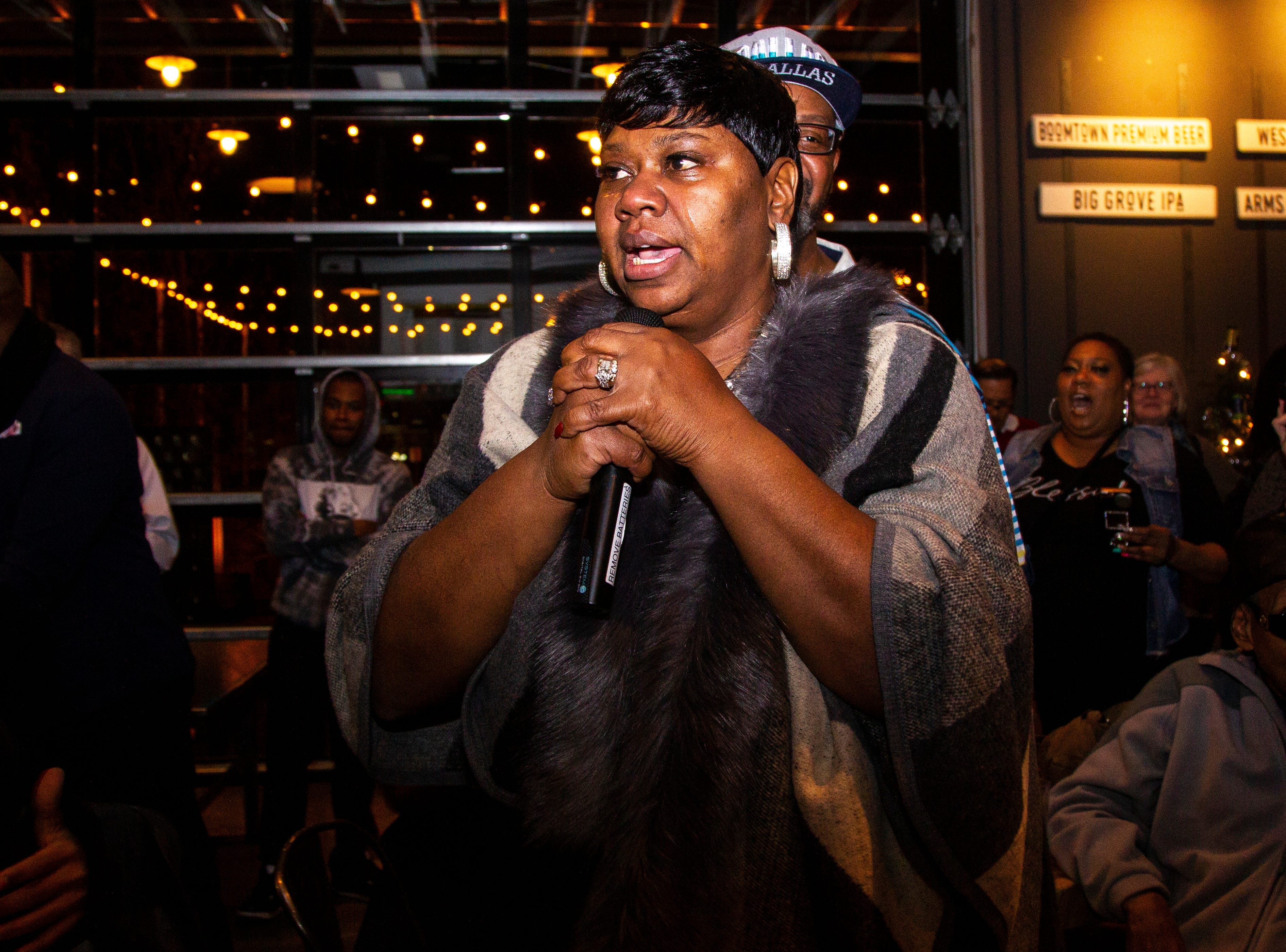 Royceann Porter thanks supporters after learning she won her campaign for Johnson County Supervisor during a special election watch party on Tuesday, Dec. 18, 2018, at Big Grove Brewery in Iowa City.