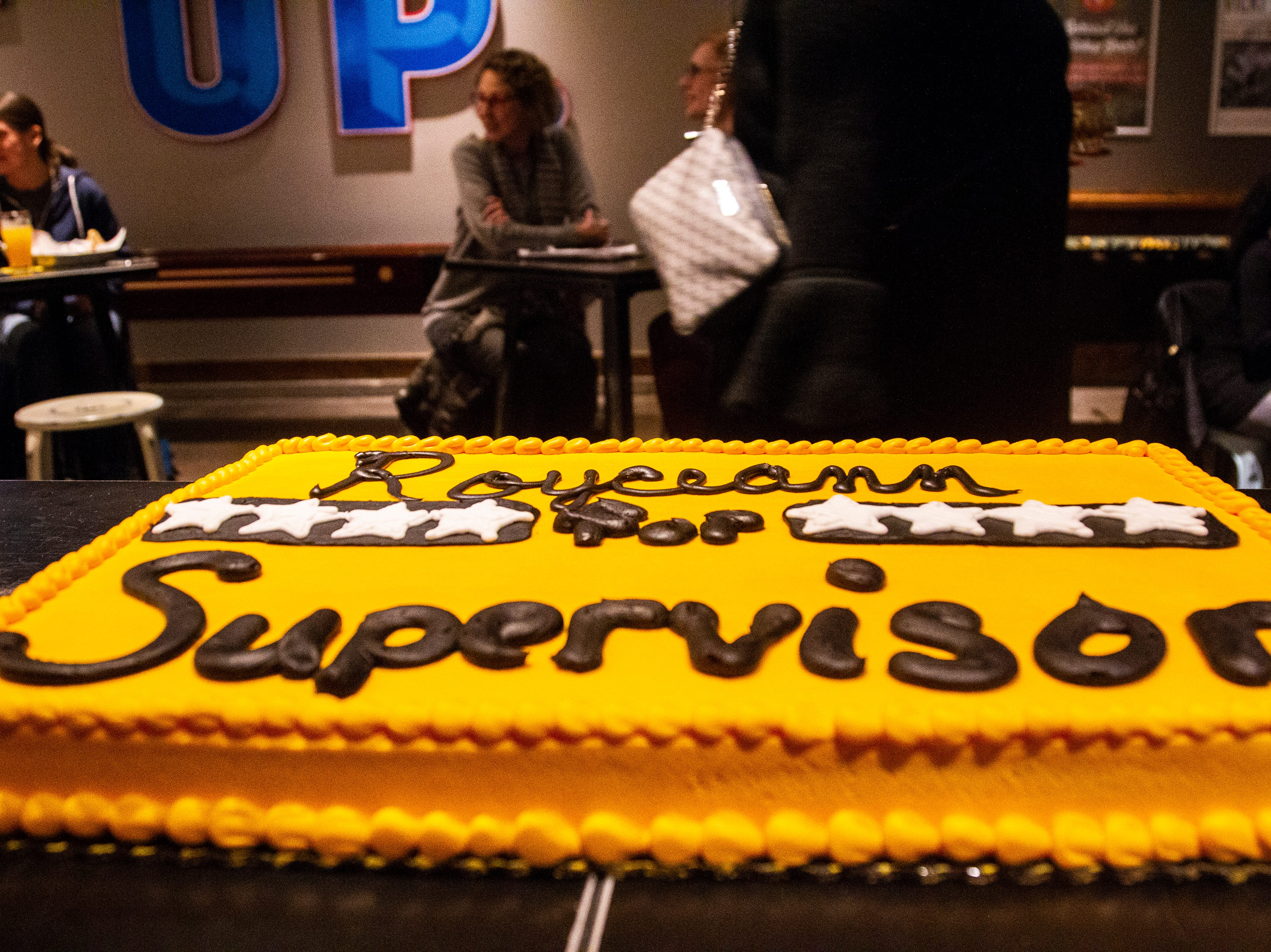"A decorated cake reads ""Royceann for Supervisor"" during a special election watch party on Tuesday, Dec. 18, 2018, at Big Grove Brewery in Iowa City."