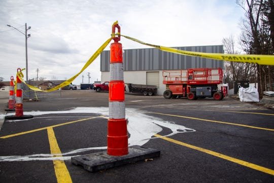 Construction continues on the future Harbor Freight location on Wednesday, Dec. 19, 2018, along Highway 1 in Iowa City. The building is going through a phase of redesign after the previous tenant, Paul's Discount, closed in July.