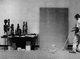 In this August 2001 file photo, a University of Iowa employee works on an exhibit space last week at the University of Iowa Museum of Art.