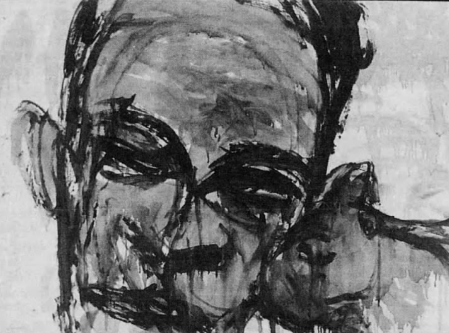 "In this August 2001 file photo, this 1959 oil on paper by Lester Johnson, ""Head,"" is part of the University of Iowa Museum of Art's permanent collection that was on display during the museum's reopening."