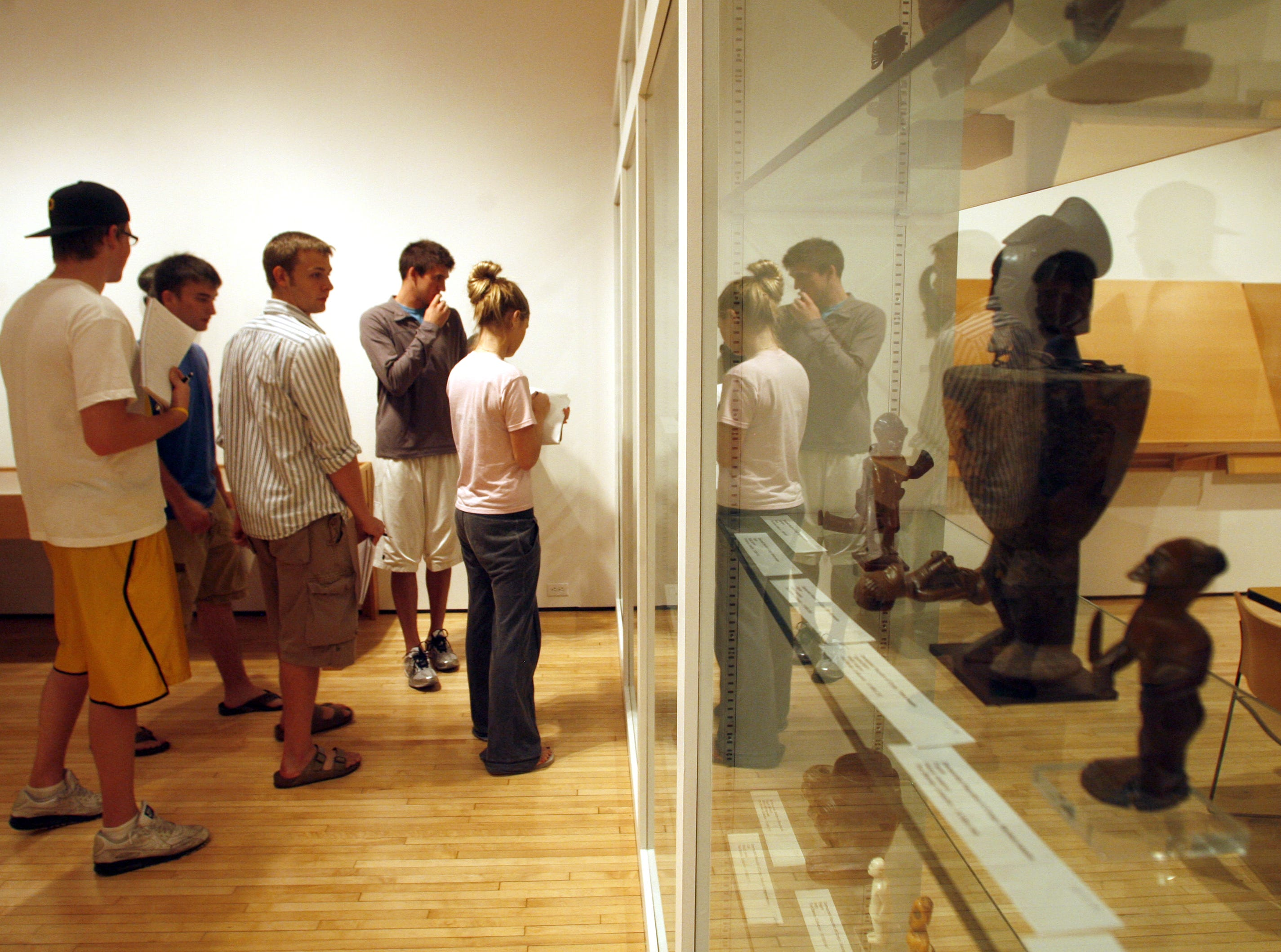UI students in an Arts of Africa class tour the UI Museum of Art's space contained in the former Richey Ballroom at the Iowa Memorial Union, Thursday , September 3, 2009, on the University of Iowa campus, in Iowa City, Iowa.