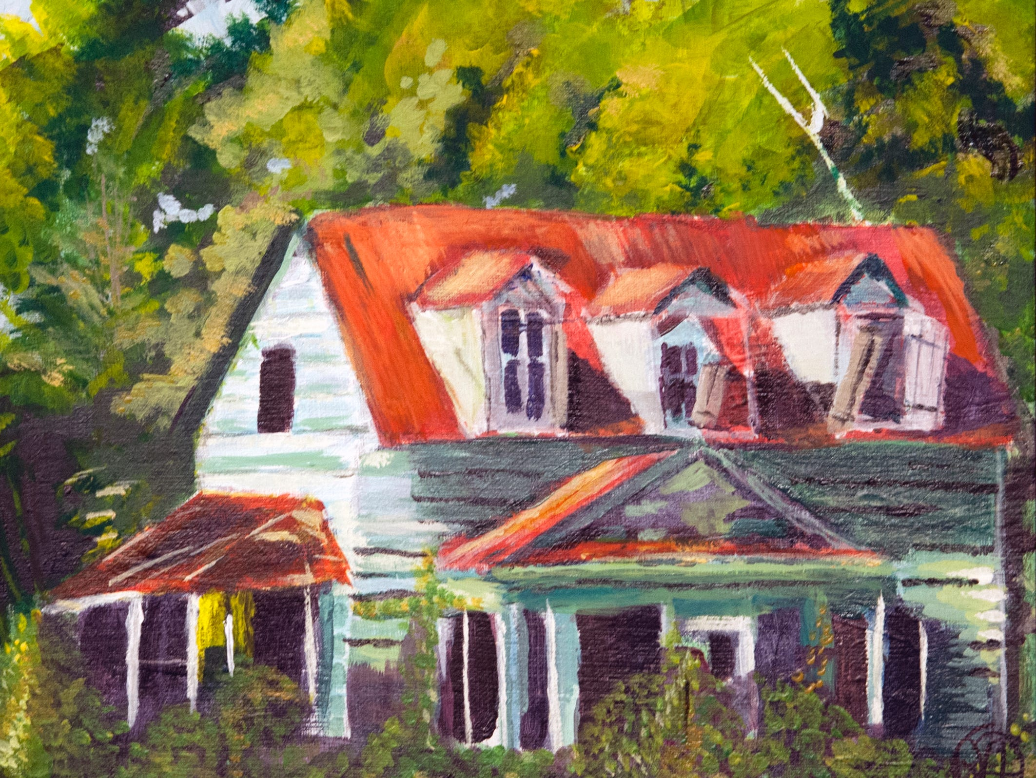 Using peripheral vision after her sight had been impaired by macular degeneration, artist and former art teacher Rhonda Duplessis painted this abandoned country house. The painting, named Rural Mississippi, is part of the VAS Mississippi-sponsored Community Art Group exhibit hanging at the Arts Center of Mississippi through Jan. 10, 2019.