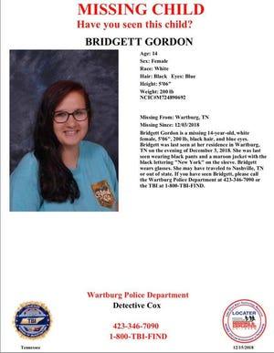 Bridgett Gordon, 14, has been missing from Wartburg, Tennessee, since Dec. 3, according to the Wartburg Police Department.