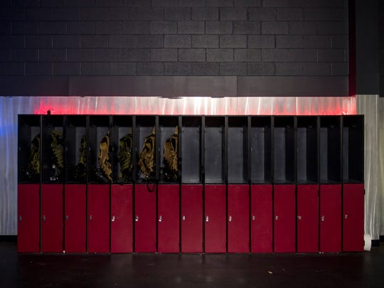 Laser tag lockers at Next Level Knoxville, located at Knoxville Center Mall.