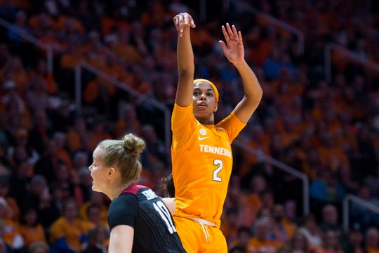 Tennessee's Evina Westbrook (2) takes a shot during a women's basketball game between Tennessee and Stanford at Thompson-Boling Arena Tuesday, Dec. 18, 2018.