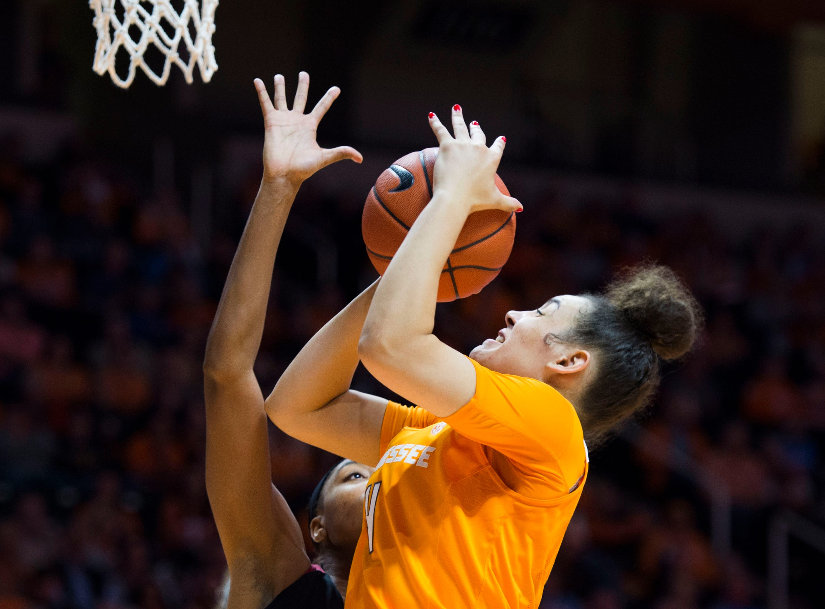 Tennessee's Mimi Collins (4) takes a shot during a women's basketball game between Tennessee and Stanford at Thompson-Boling Arena Tuesday, Dec. 18, 2018.