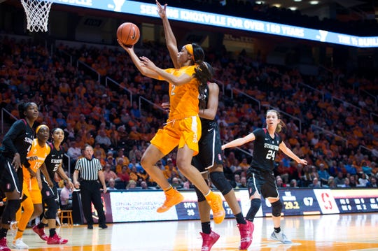 Tennessee's Evina Westbrook (2) takes a shot on Tuesday. Westbrook finished with a double-double (29 points, 10 assists) in the Lady Vols' loss.
