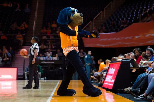 Smokey dances on the sidelines during a women's basketball game between Tennessee and Stanford at Thompson-Boling Arena Tuesday, Dec. 18, 2018.