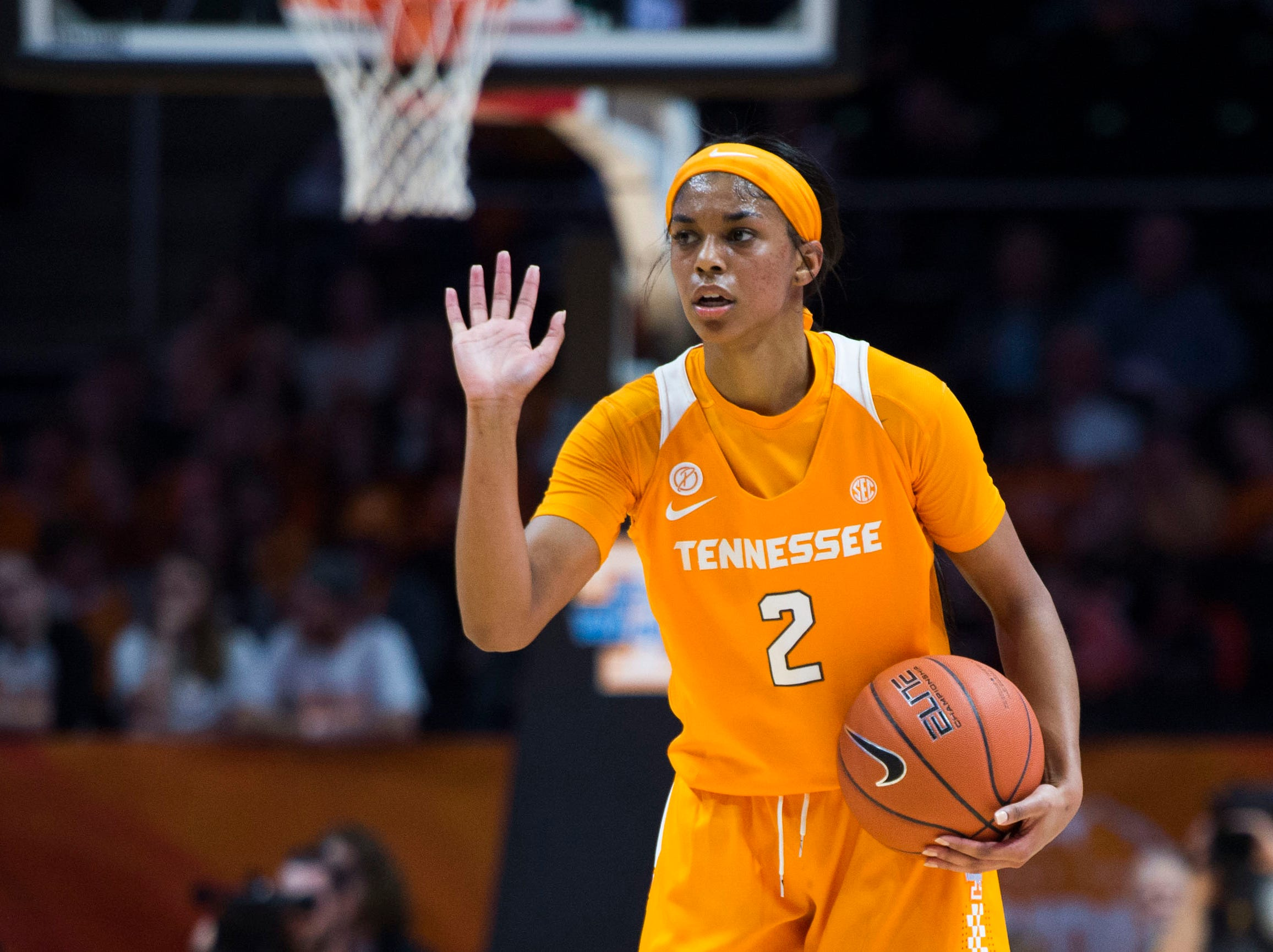 Tennessee's Evina Westbrook (2) talks to teammates during a women's basketball game between Tennessee and Stanford at Thompson-Boling Arena Tuesday, Dec. 18, 2018.