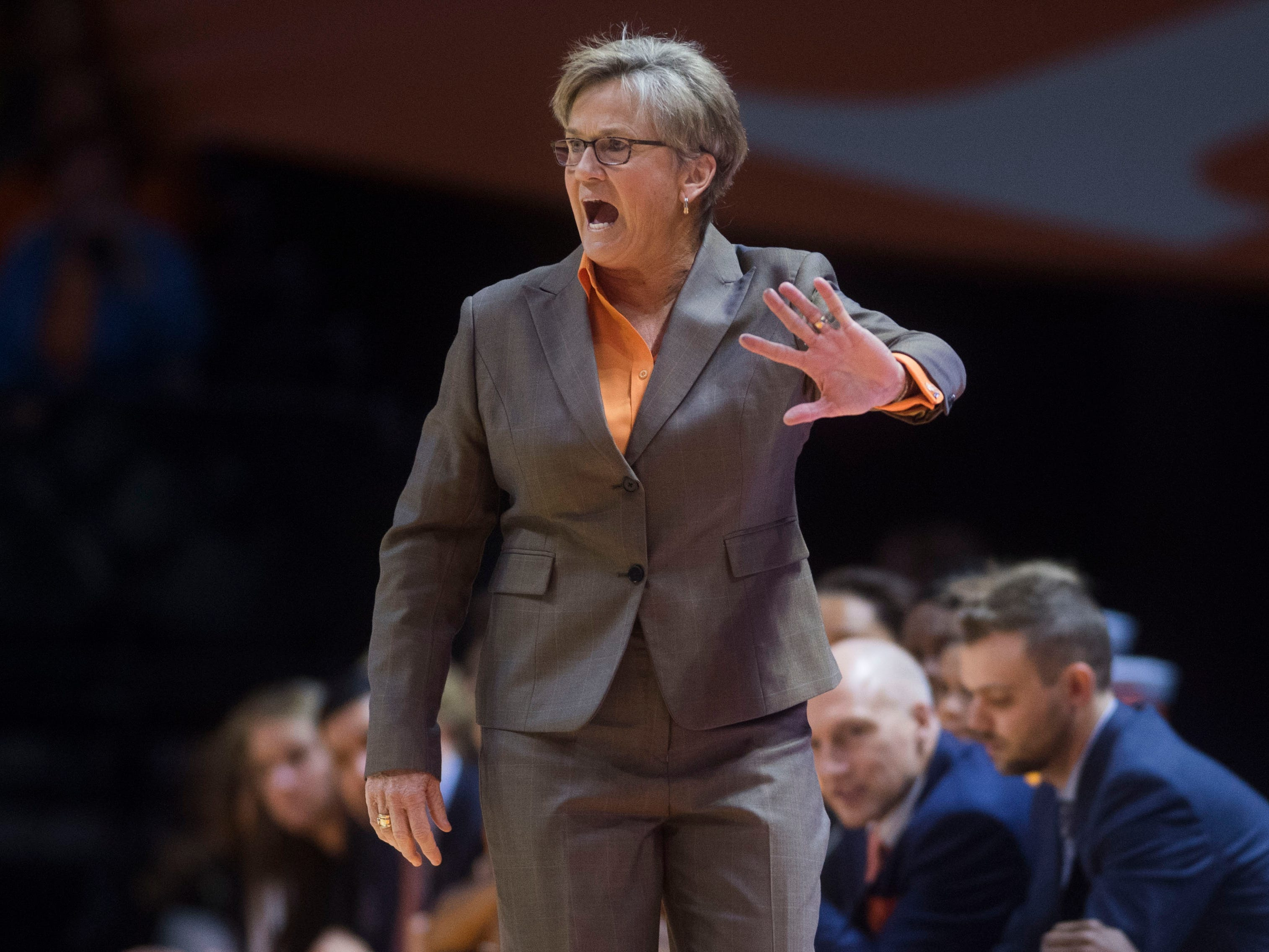 Tennessee head coach Holly Warlick yells to the court during a women's basketball game between Tennessee and Stanford at Thompson-Boling Arena Tuesday, Dec. 18, 2018.