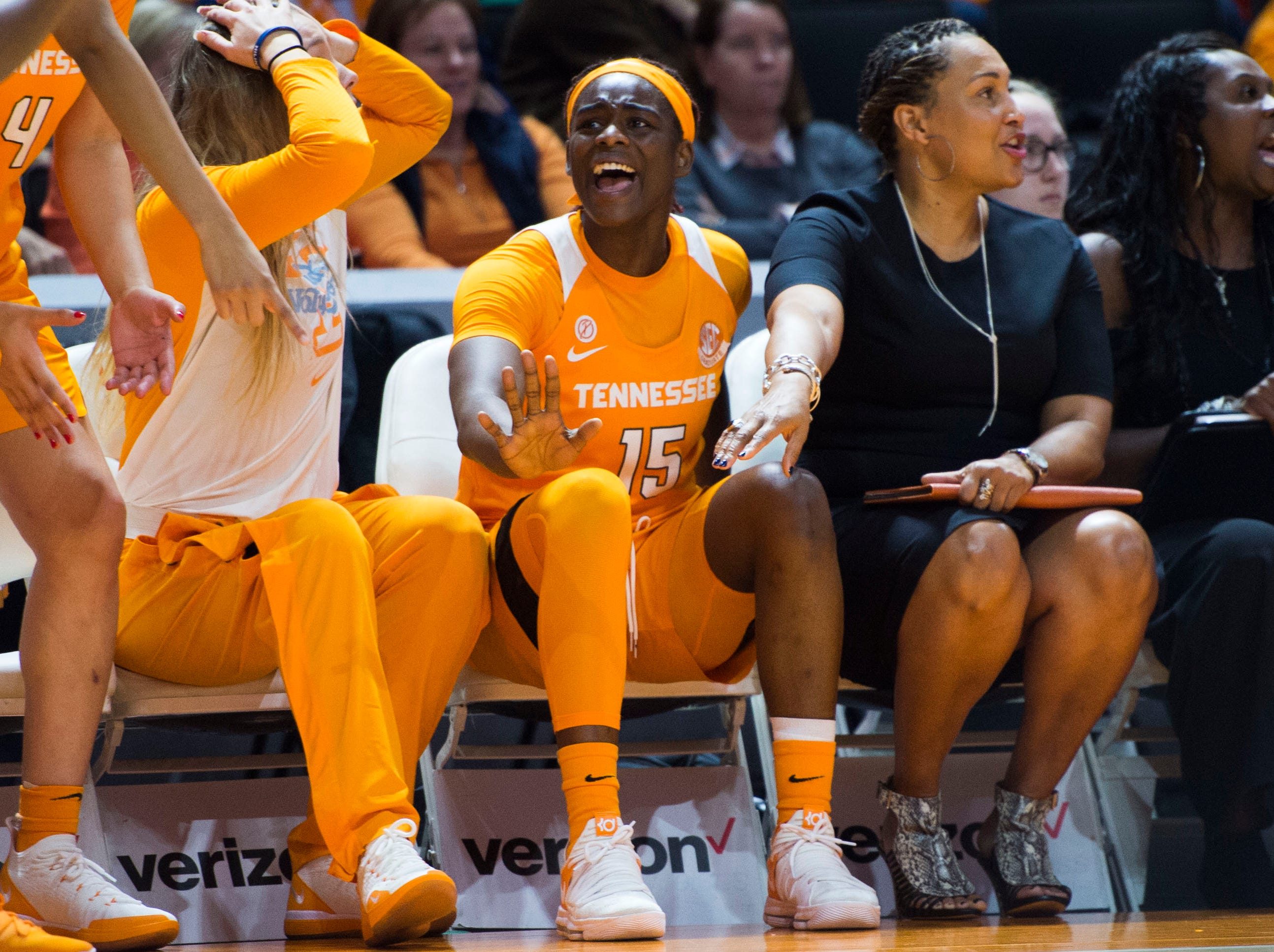 Tennessee's Cheridene Green (15) reacts to a call during a women's basketball game between Tennessee and Stanford at Thompson-Boling Arena Tuesday, Dec. 18, 2018.