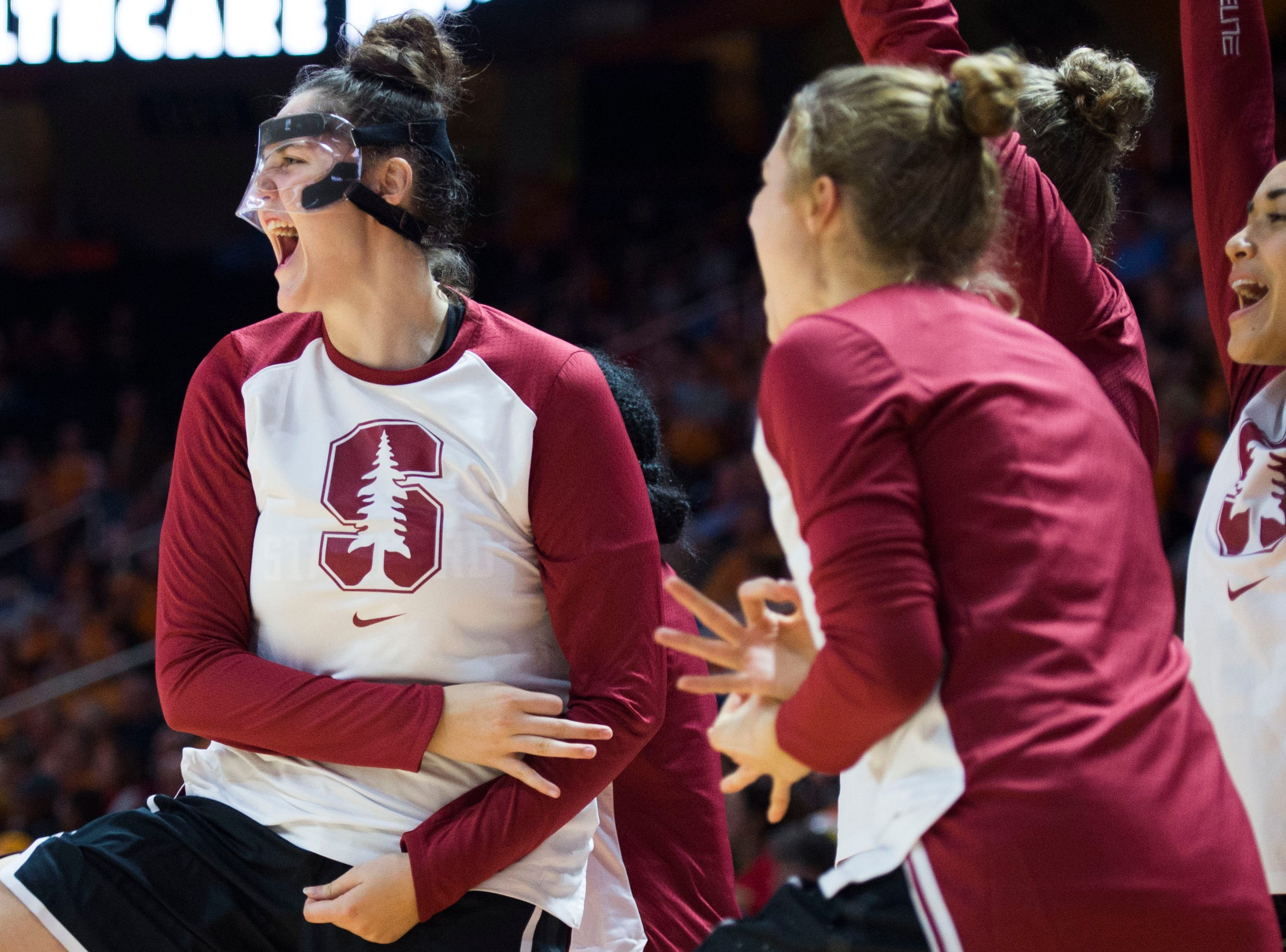 Stanford players react to a three-pointer during a women's basketball game between Tennessee and Stanford at Thompson-Boling Arena Tuesday, Dec. 18, 2018.