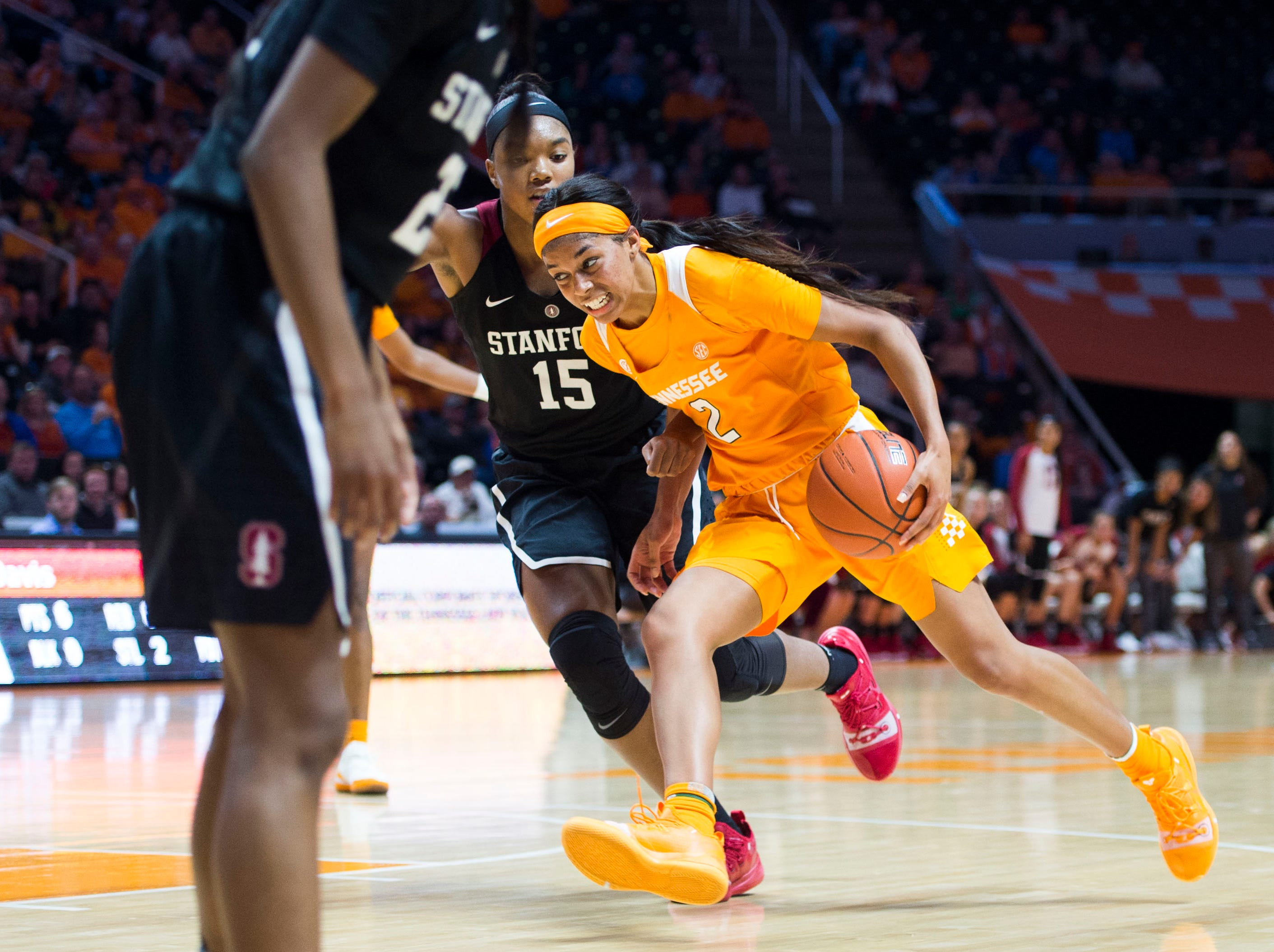 Tennessee's Evina Westbrook (2) drives the ball towards the basket while defended by Standford's Maya Dodson (15) during a women's basketball game between Tennessee and Stanford at Thompson-Boling Arena Tuesday, Dec. 18, 2018.