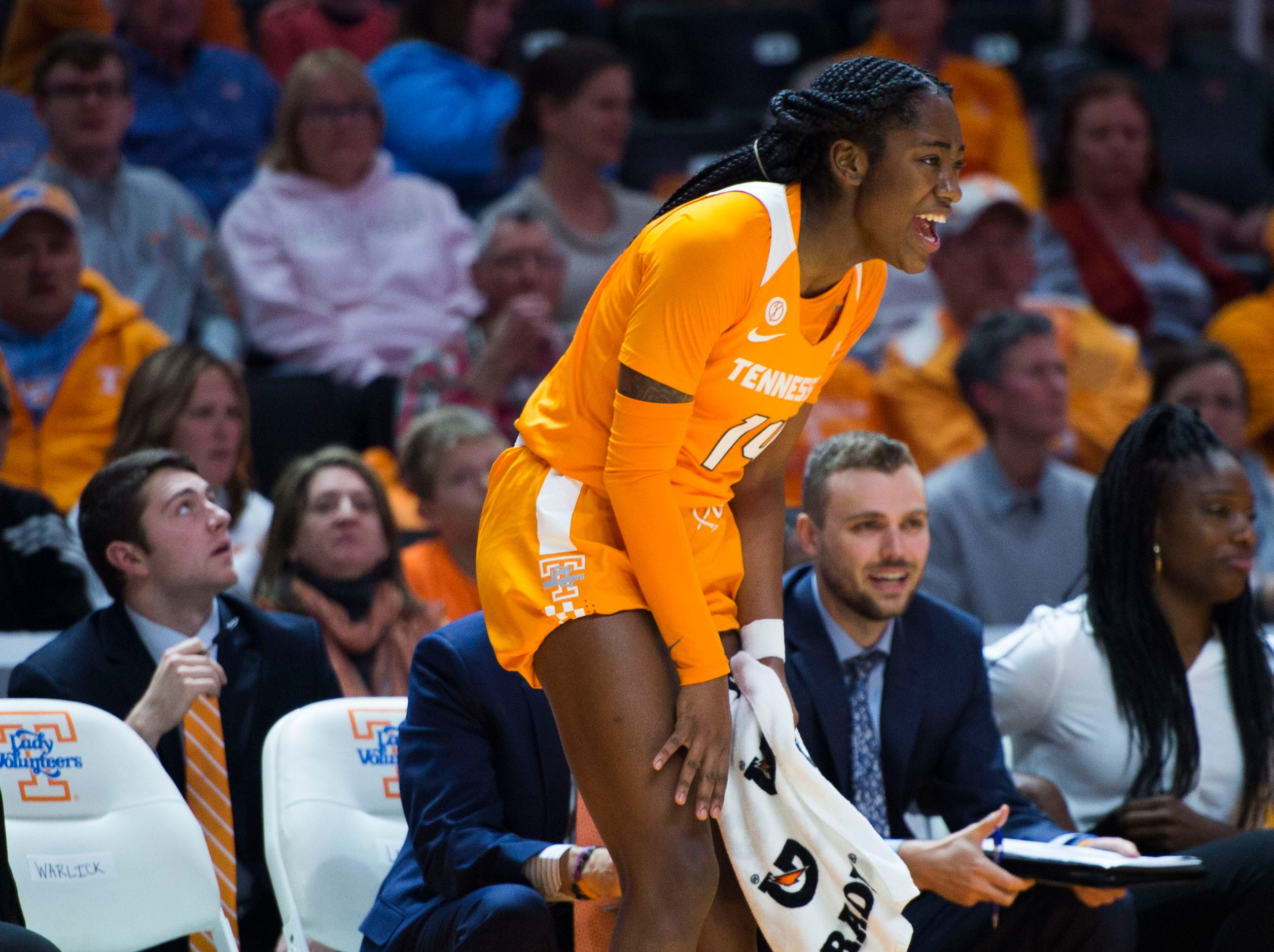 Tennessee's Zaay Green (14) reacts to a call during a women's basketball game between Tennessee and Stanford at Thompson-Boling Arena Tuesday, Dec. 18, 2018.