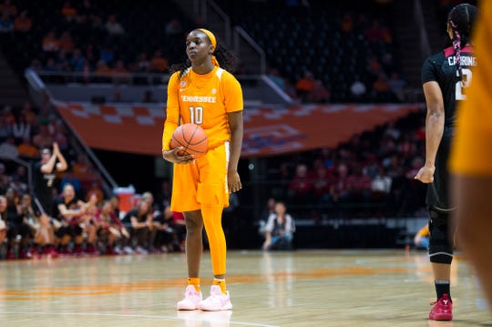 Tennessee's Meme Jackson (10) reacts to a call during the Lady Vols' game against Stanford on Tuesday.