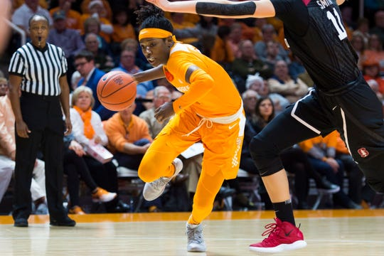 Tennessee's Rennia Davis (0) drives the ball towards the basket during a women's basketball game between Tennessee and Stanford at Thompson-Boling Arena Tuesday, Dec. 18, 2018.