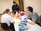 EMT interns participate in exercise during a cooperative class between AMR and Pellissippi State.