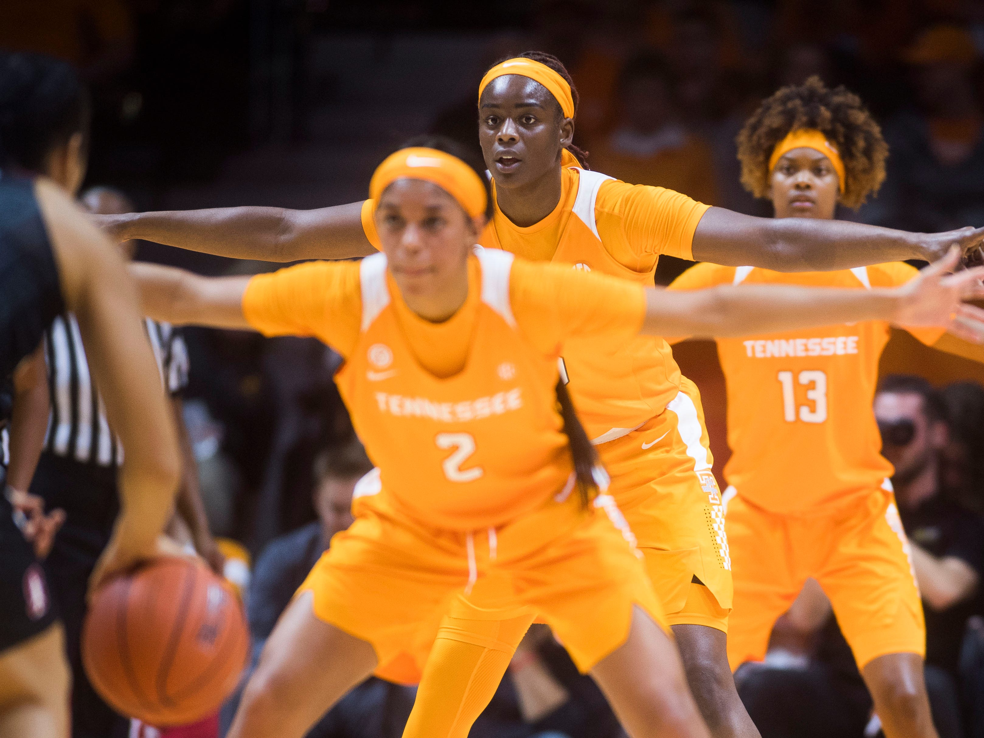 Tennessee players block a Stanford player during a women's basketball game between Tennessee and Stanford at Thompson-Boling Arena Tuesday, Dec. 18, 2018.