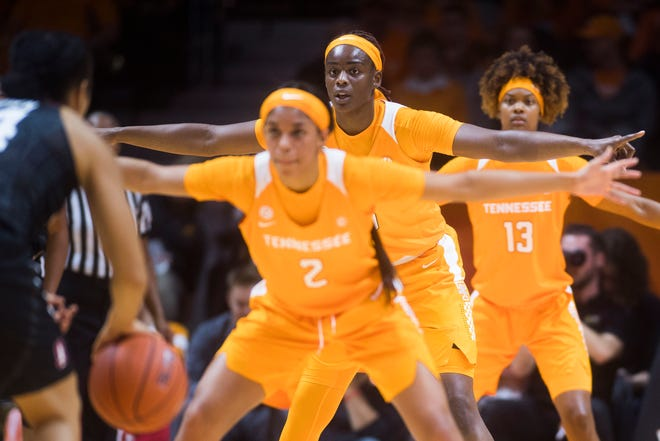 Tennessee defenders face down a Stanford player during the Lady Vols' loss at Thompson-Boling Arena on Tuesday.