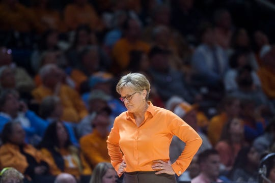 "Tennessee head coach Holly Warlick reacts to a call during the Lady Vols' loss to No. 8 Stanford on Tuesday. ""We're a majority freshmen and sophomore team,"" Warlick said after the game. ""But that's not an excuse for us."""