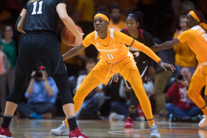 Tennessee's Rennia Davis (0) defends Standford's Alanna Smith (11) during Tuesday's game. The Lady Vols look to bounce back from their loss to the Cardinal when they face ETSU on Friday evening.