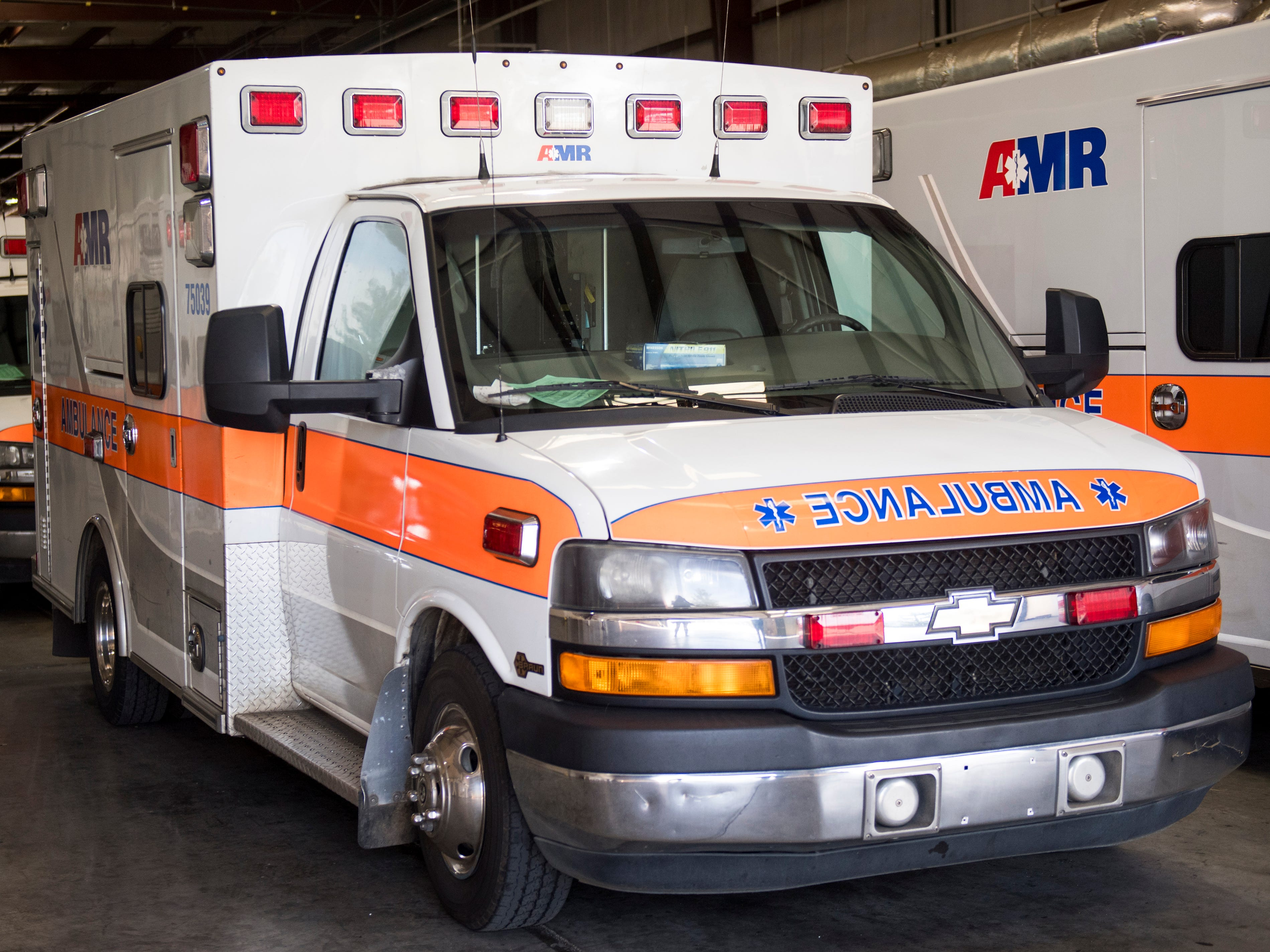 An AMR ambulance on Monday, December 3, 2018.