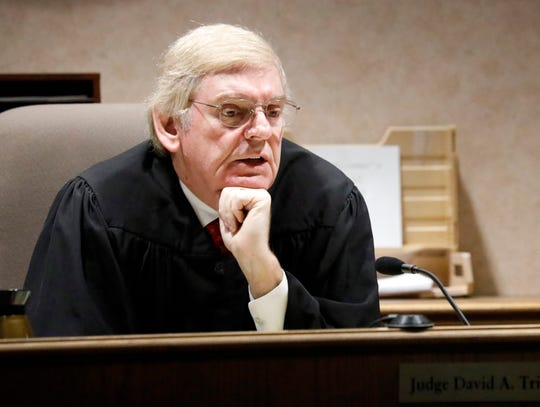 Visiting Judge Linton D. Lewis Jr. speaks during a judicial release hearing for Bridget Kuhn Wednesday, Dec. 19, 2018, in Lancaster. Lewis granted Kuhn's motion for early release for prison. Kuhn, the wife of former Lancaster Mayor Brian Kuhn, was serving a 17 year prison sentence with 13 years suspended for probation. She was sentenced in August 2016 for embezzling more than $325,000 from American Legion Post 11 and Frazier Electric Inc.