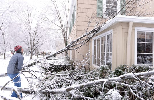 Matt Hedden of East Lansing Tried to remove a large fallen branch fron the roof of his home Monday morning but decided to wait for a friend who owns a chain saw. Matt's family did not lose their power unlike many others in East Lansing.  Photo taken 12/23/2013