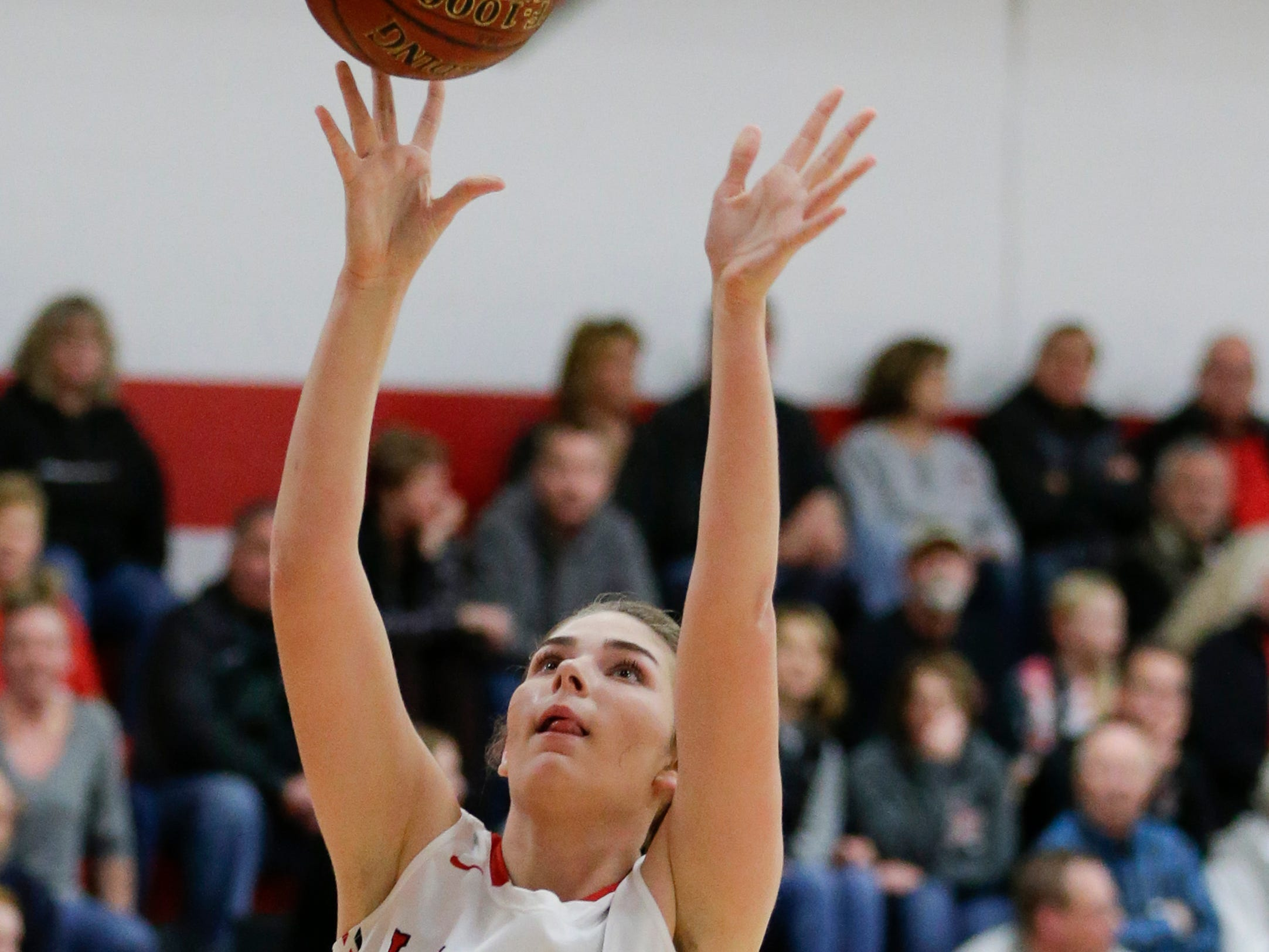 Manitowoc Lutheran's Madison Gorte takes it to the hoop on a fast break against Howards Grove at Manitowoc Lutheran High School Tuesday, December 18, 2018, in Manitowoc, Wis. Joshua Clark/USA TODAY NETWORK-Wisconsin