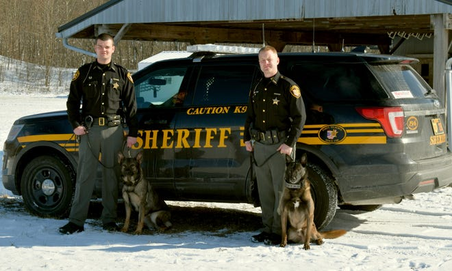 K-9 Viking and her handler Lt. Corey Galyk, and K-9 Nero and his handler Deputy Ryan Kelly graduated K-9 Training School earlier this month.