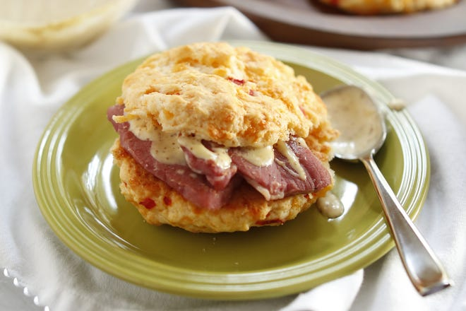 Pimento cheese biscuit sandwiches are a great way to use up your leftover Christmas ham.