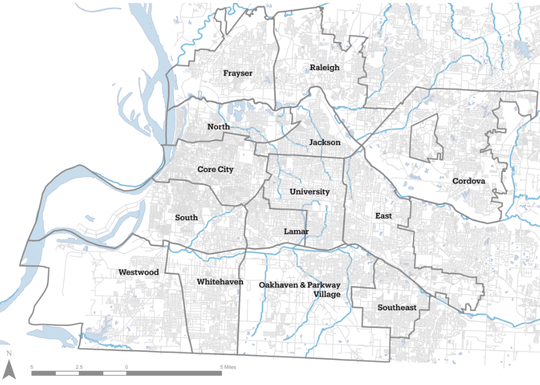 This map shows the planning districts.